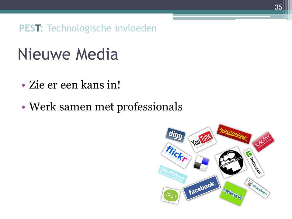 Nieuwe Media Zie er een kans in! Werk samen met professionals 35 PEST: Technologische invloeden