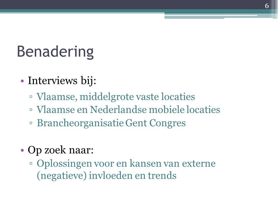 Benadering Interviews bij: ▫Vlaamse, middelgrote vaste locaties ▫Vlaamse en Nederlandse mobiele locaties ▫Brancheorganisatie Gent Congres Op zoek naar