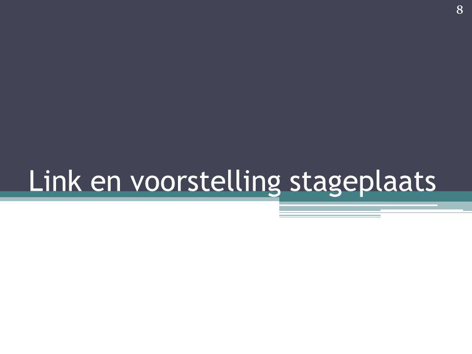 Link met stageplaats Stage in Vlaamse, middelgrote evenementenlocatie De Zebrastraat Tijdens eerste weken: Grote afhankelijkheid van externe factoren gemerkt 9