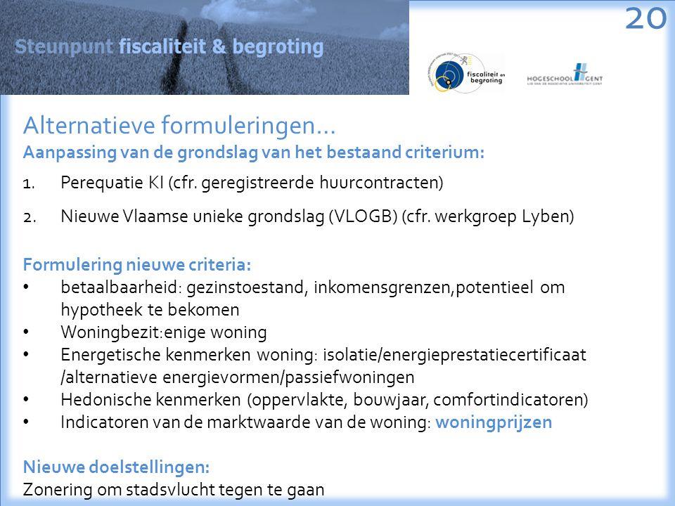 20 Alternatieve formuleringen… Aanpassing van de grondslag van het bestaand criterium: 1.Perequatie KI (cfr.