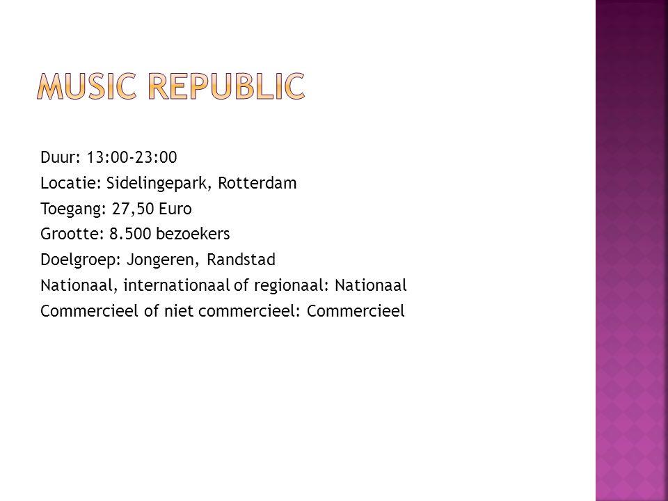 Duur: 13:00-23:00 Locatie: Sidelingepark, Rotterdam Toegang: 27,50 Euro Grootte: 8.500 bezoekers Doelgroep: Jongeren, Randstad Nationaal, internationaal of regionaal: Nationaal Commercieel of niet commercieel: Commercieel