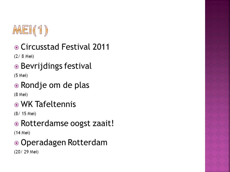  Circusstad Festival 2011 (2/ 8 Mei)  Bevrijdings festival (5 Mei)  Rondje om de plas (8 Mei)  WK Tafeltennis (8/ 15 Mei)  Rotterdamse oogst zaait.