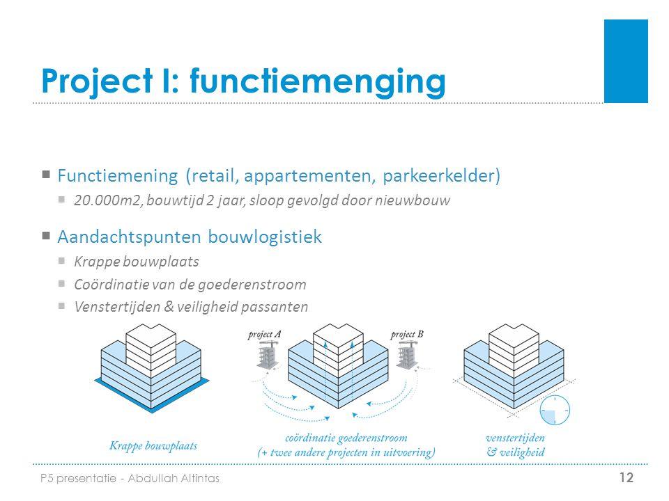 Project I: functiemenging  Functiemening (retail, appartementen, parkeerkelder)  20.000m2, bouwtijd 2 jaar, sloop gevolgd door nieuwbouw  Aandachts