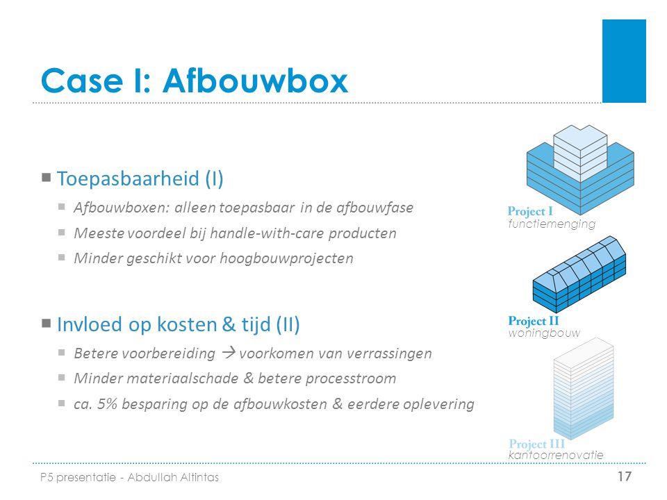 Case I: Afbouwbox  Toepasbaarheid (I)  Afbouwboxen: alleen toepasbaar in de afbouwfase  Meeste voordeel bij handle-with-care producten  Minder ges