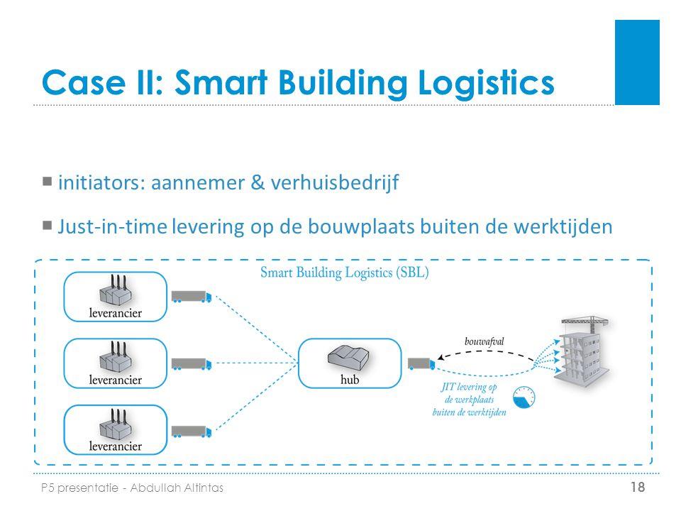 Case II: Smart Building Logistics  initiators: aannemer & verhuisbedrijf  Just-in-time levering op de bouwplaats buiten de werktijden 18 P5 presenta