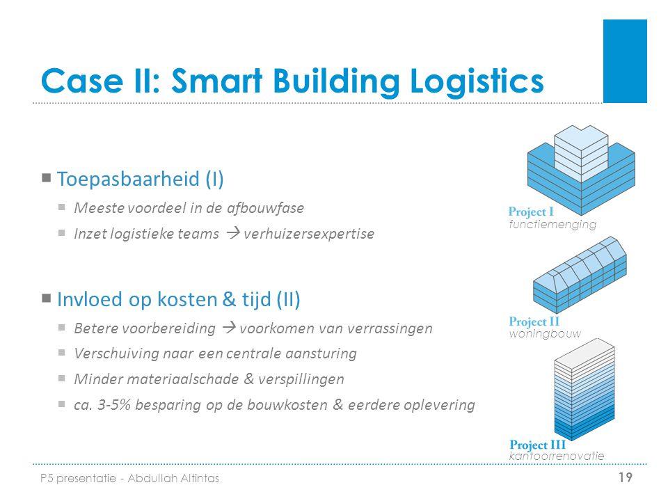Case II: Smart Building Logistics 19 functiemenging woningbouw kantoorrenovatie  Toepasbaarheid (I)  Meeste voordeel in de afbouwfase  Inzet logist
