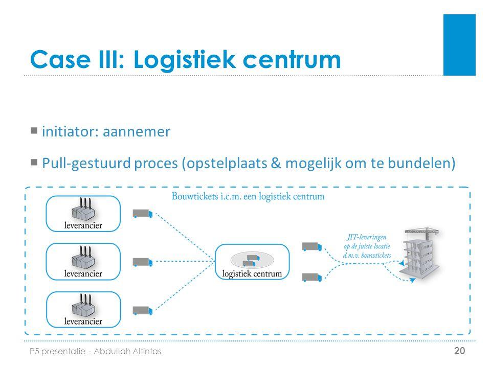 Case III: Logistiek centrum 20  initiator: aannemer  Pull-gestuurd proces (opstelplaats & mogelijk om te bundelen) P5 presentatie - Abdullah Altinta