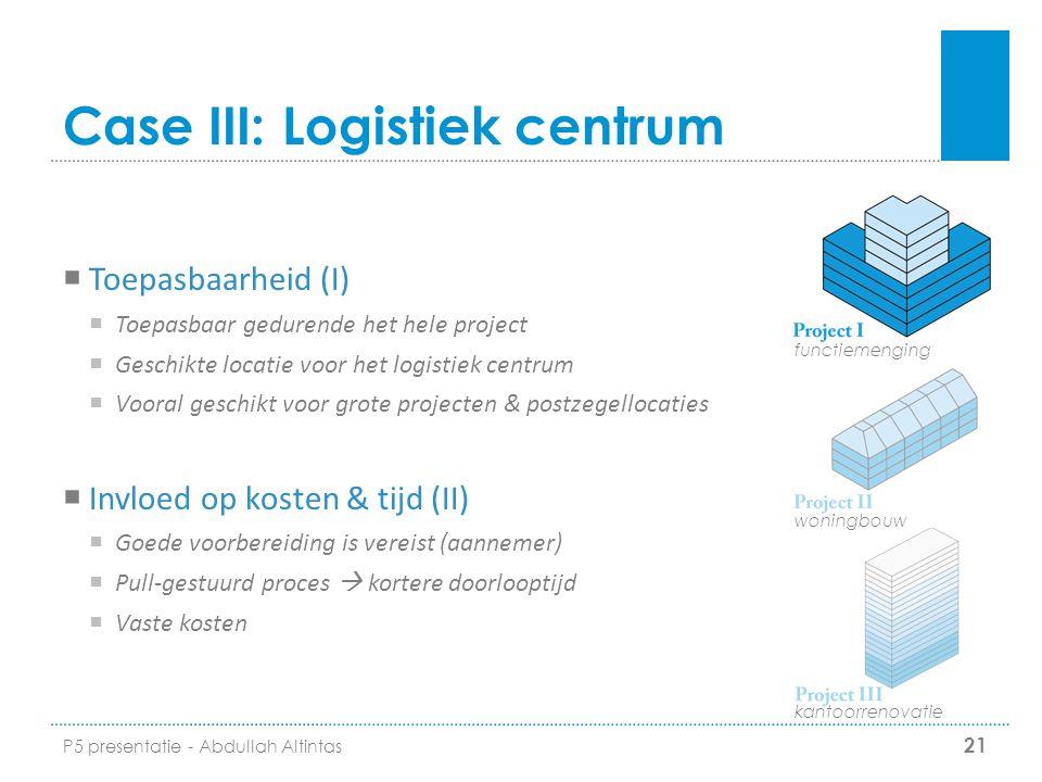 Case III: Logistiek centrum  Toepasbaarheid (I)  Toepasbaar gedurende het hele project  Geschikte locatie voor het logistiek centrum  Vooral gesch
