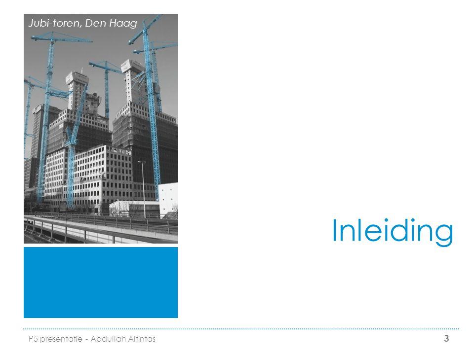 Project III: kantoorrenovatie  Verouderde kantoorgebouw (20.000m2)  Renovatie van het interieur  Aandachtspunten bouwlogistiek  Gebouw is nog deels gebruik (beperking overlast)  Verticale logistics & retourstromen  Goederenstroom naar de bouwplaats 14 P5 presentatie - Abdullah Altintas