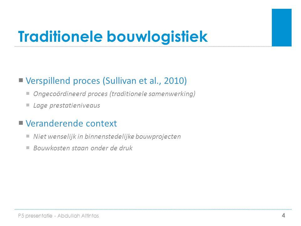 Traditionele bouwlogistiek  Verspillend proces (Sullivan et al., 2010)  Ongecoördineerd proces (traditionele samenwerking)  Lage prestatieniveaus 