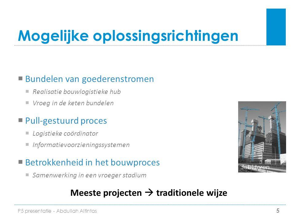 Mogelijke oplossingsrichtingen  Bundelen van goederenstromen  Realisatie bouwlogistieke hub  Vroeg in de keten bundelen  Pull-gestuurd proces  Lo