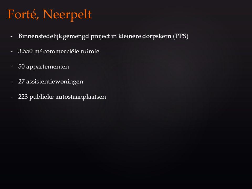 -Binnenstedelijk gemengd project in kleinere dorpskern (PPS) -3.550 m² commerciële ruimte -50 appartementen -27 assistentiewoningen -223 publieke auto