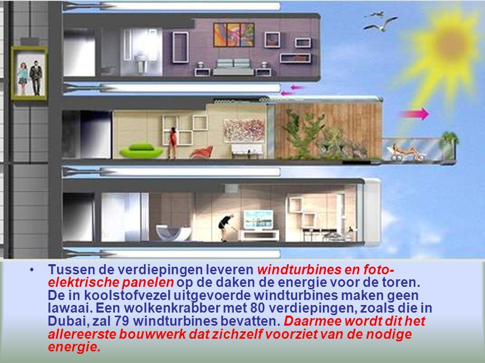 Elke verdieping, in kleine stukken verdeeld en aan de onbeweeglijke centrale stam in beton bevestigd, zal op zichzelf draaien.