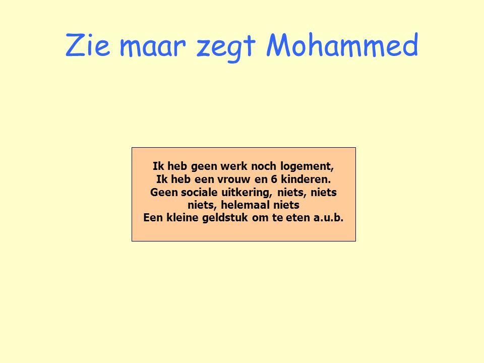 Zie maar zegt Mohammed Ik heb geen werk noch logement, Ik heb een vrouw en 6 kinderen.