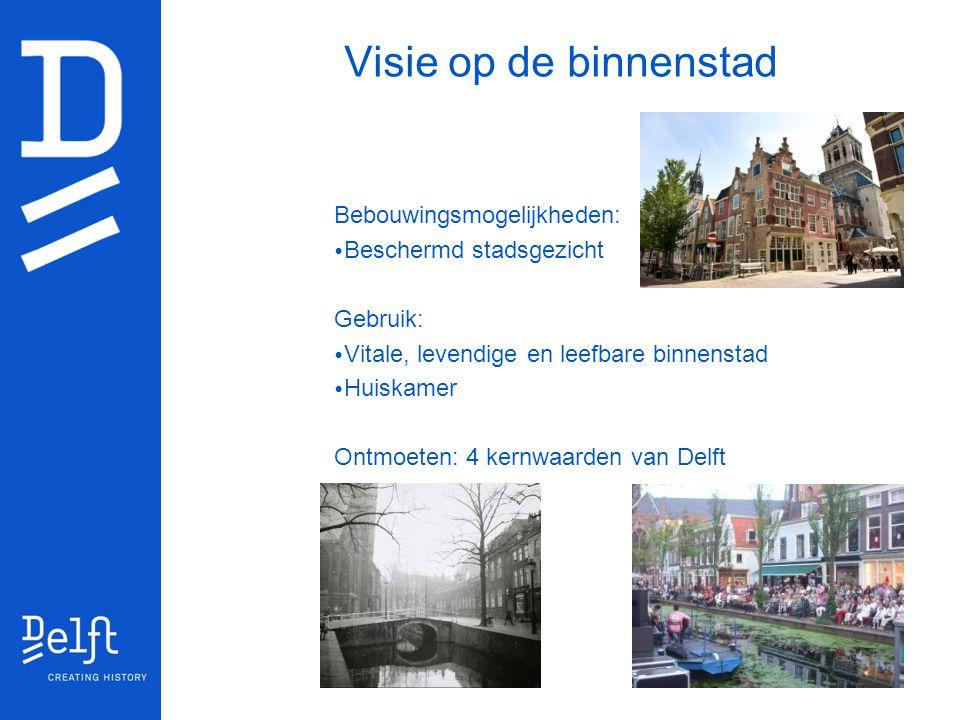Visie op de binnenstad Bebouwingsmogelijkheden: Beschermd stadsgezicht Gebruik: Vitale, levendige en leefbare binnenstad Huiskamer Ontmoeten: 4 kernwa