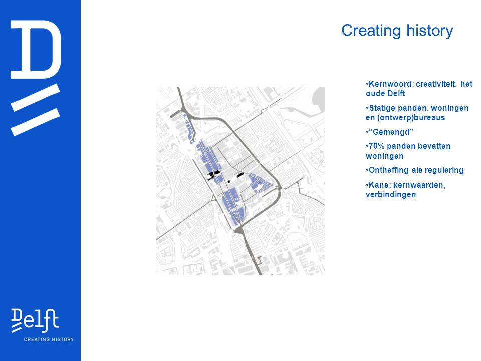 """Kernwoord: creativiteit, het oude Delft Statige panden, woningen en (ontwerp)bureaus """"Gemengd"""" 70% panden bevatten woningen Ontheffing als regulering"""