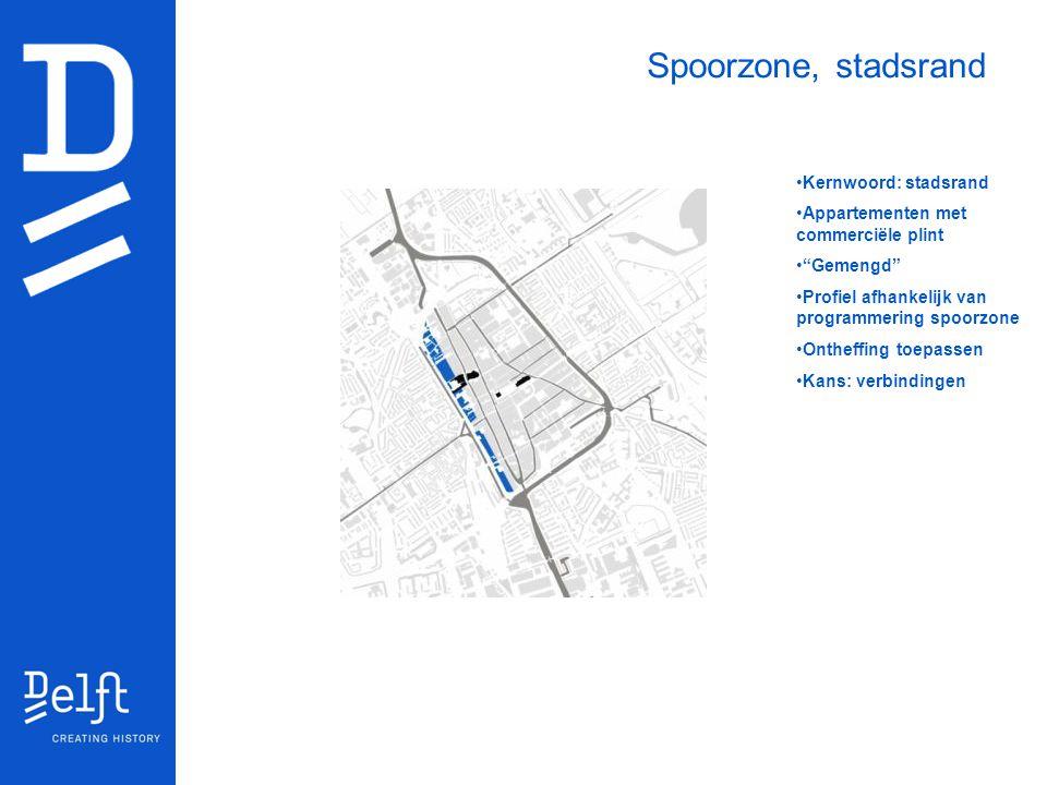 """Kernwoord: stadsrand Appartementen met commerciële plint """"Gemengd"""" Profiel afhankelijk van programmering spoorzone Ontheffing toepassen Kans: verbindi"""