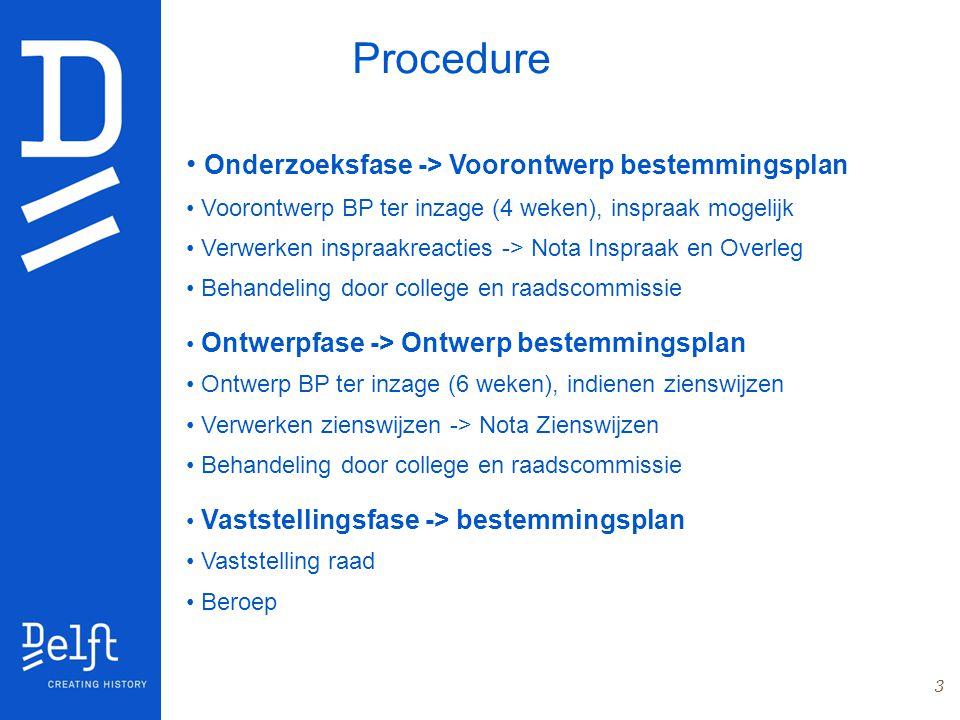 3 Procedure Onderzoeksfase -> Voorontwerp bestemmingsplan Voorontwerp BP ter inzage (4 weken), inspraak mogelijk Verwerken inspraakreacties -> Nota In