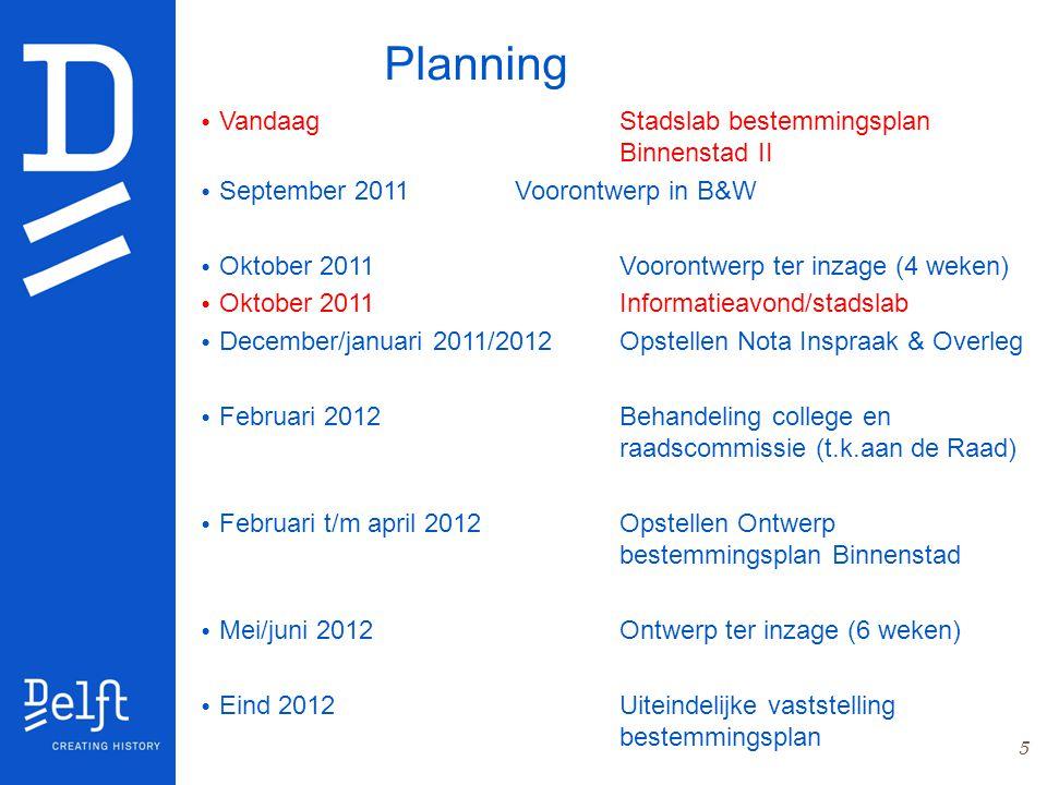5 Planning VandaagStadslab bestemmingsplan Binnenstad II September 2011Voorontwerp in B&W Oktober 2011 Voorontwerp ter inzage (4 weken) Oktober 2011In