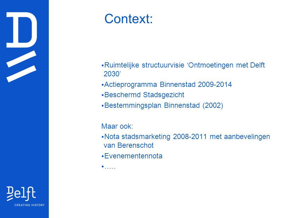 Context: Ruimtelijke structuurvisie 'Ontmoetingen met Delft 2030' Actieprogramma Binnenstad 2009-2014 Beschermd Stadsgezicht Bestemmingsplan Binnensta