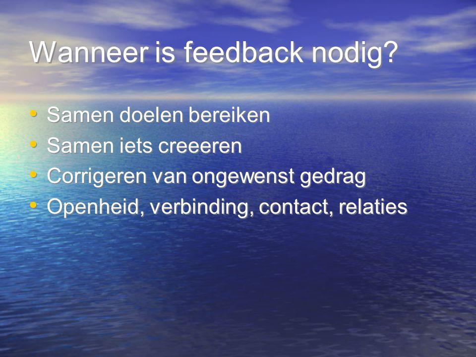Wanneer is feedback nodig? Samen doelen bereiken Samen iets creeeren Corrigeren van ongewenst gedrag Openheid, verbinding, contact, relaties Samen doe