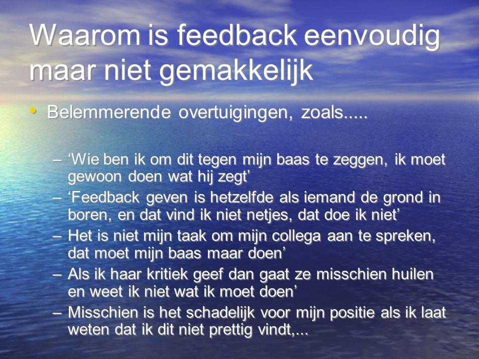 Waarom is feedback eenvoudig maar niet gemakkelijk Belemmerende overtuigingen, zoals..... –'Wie ben ik om dit tegen mijn baas te zeggen, ik moet gewoo