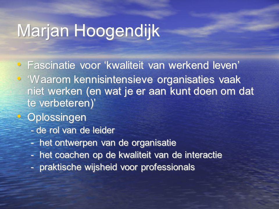 Marjan Hoogendijk Fascinatie voor 'kwaliteit van werkend leven' 'Waarom kennisintensieve organisaties vaak niet werken (en wat je er aan kunt doen om