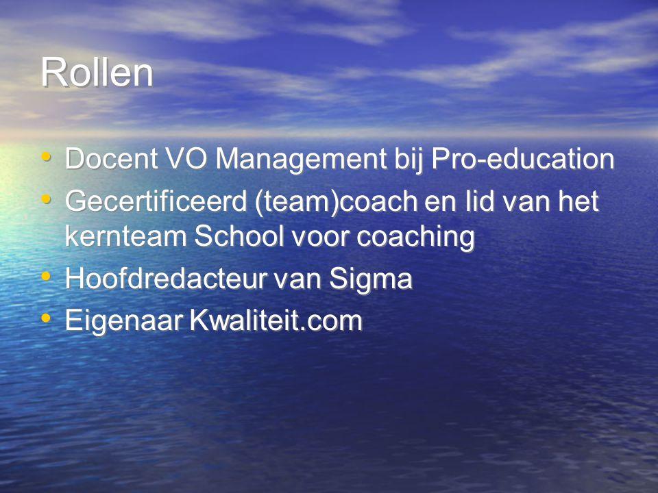 Rollen Docent VO Management bij Pro-education Gecertificeerd (team)coach en lid van het kernteam School voor coaching Hoofdredacteur van Sigma Eigenaa