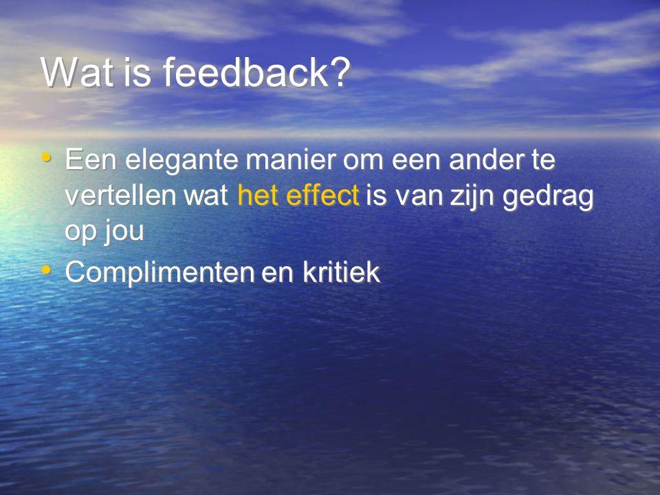 Wat is feedback? Een elegante manier om een ander te vertellen wat het effect is van zijn gedrag op jou Complimenten en kritiek Een elegante manier om