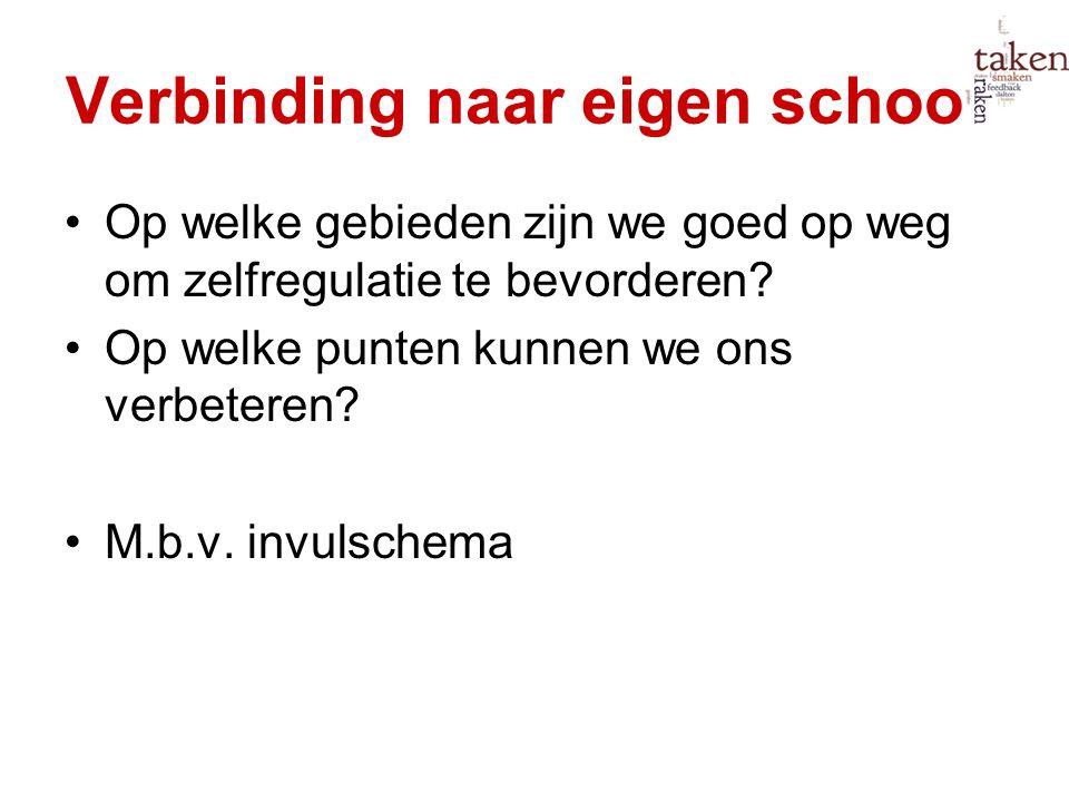 Verbinding naar eigen school: Op welke gebieden zijn we goed op weg om zelfregulatie te bevorderen? Op welke punten kunnen we ons verbeteren? M.b.v. i
