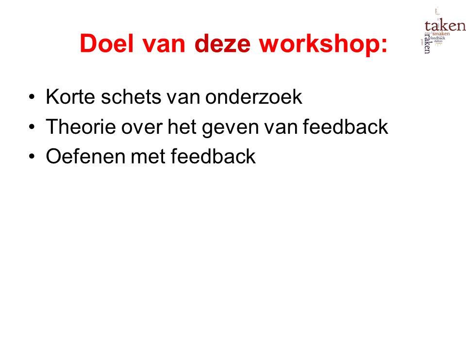 Doel van deze workshop: Korte schets van onderzoek Theorie over het geven van feedback Oefenen met feedback