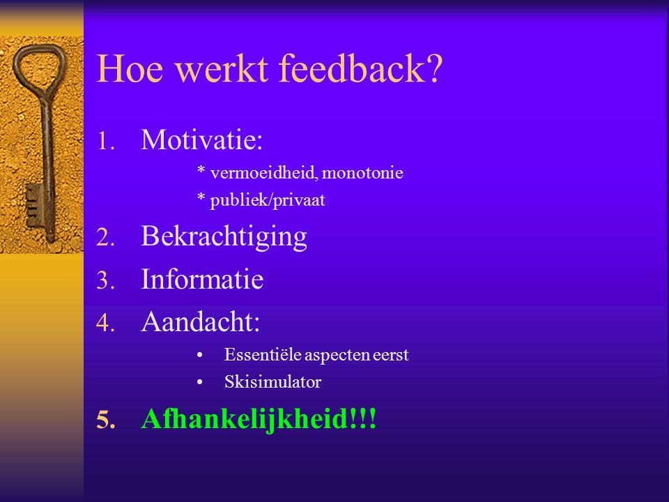 Hoe werkt feedback.1. Motivatie: * vermoeidheid, monotonie * publiek/privaat 2.
