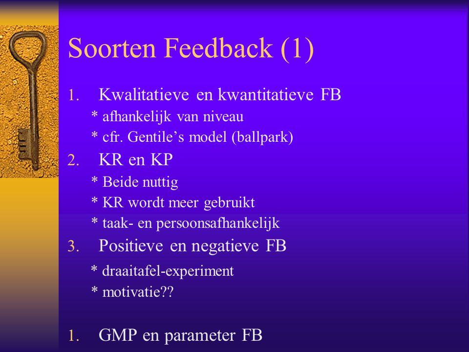 Soorten Feedback (1) 1.Kwalitatieve en kwantitatieve FB * afhankelijk van niveau * cfr.
