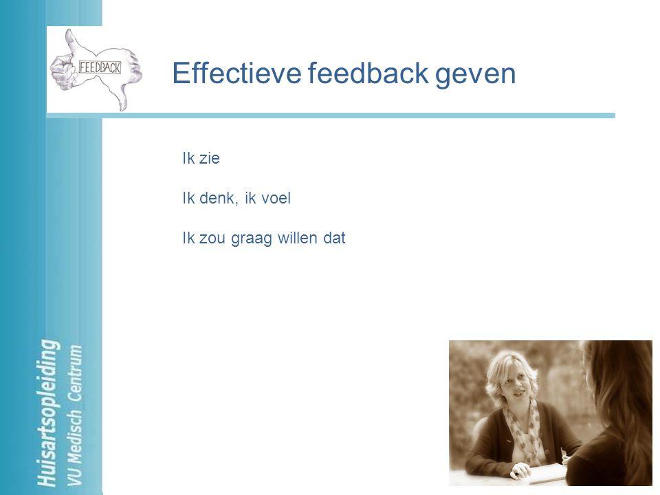Ik hoor Ik waardeer, ik denk, ik voel Afspraken Effectief feedback ontvangen