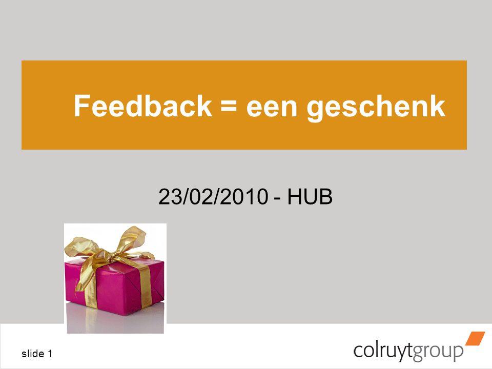 slide 1 Feedback = een geschenk 23/02/2010 - HUB