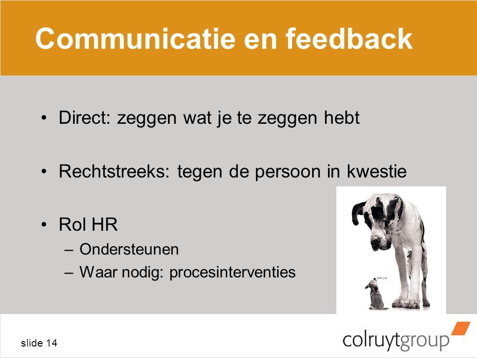 slide 14 Communicatie en feedback Direct: zeggen wat je te zeggen hebt Rechtstreeks: tegen de persoon in kwestie Rol HR –Ondersteunen –Waar nodig: procesinterventies