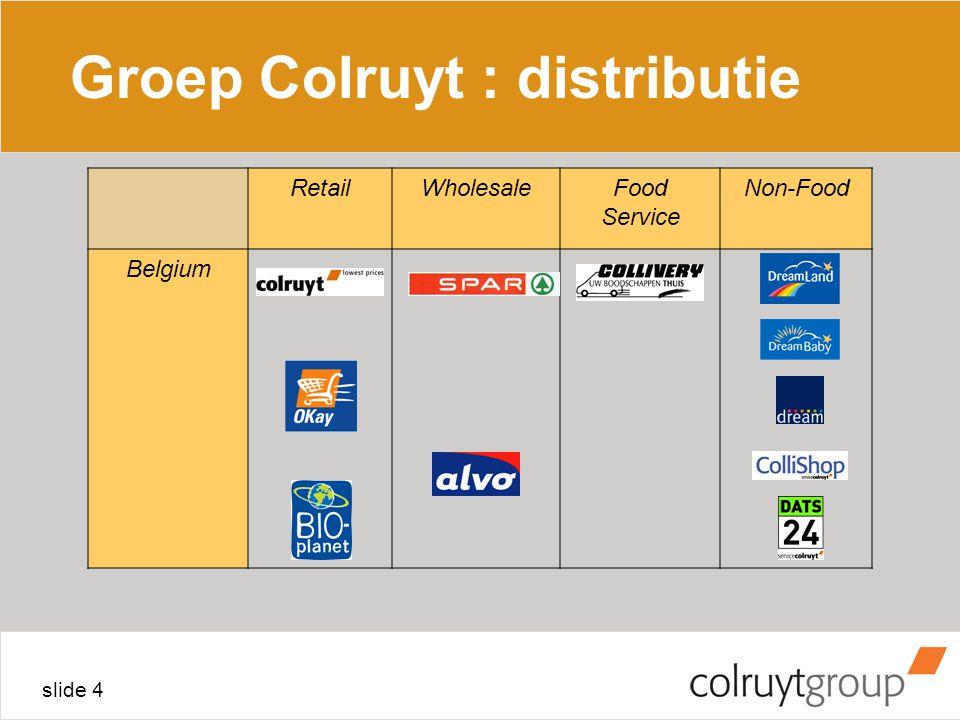 slide 4 Groep Colruyt : distributie RetailWholesaleFood Service Non-Food Belgium