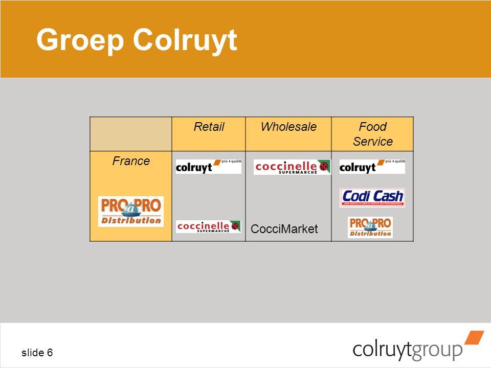 slide 6 Groep Colruyt RetailWholesaleFood Service France CocciMarket