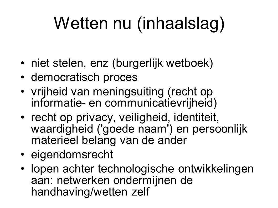 Wetten nu (inhaalslag) niet stelen, enz (burgerlijk wetboek) democratisch proces vrijheid van meningsuiting (recht op informatie- en communicatievrijh