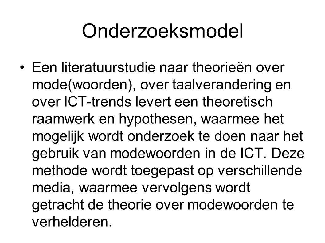 Een literatuurstudie naar theorieën over mode(woorden), over taalverandering en over ICT-trends levert een theoretisch raamwerk en hypothesen, waarmee