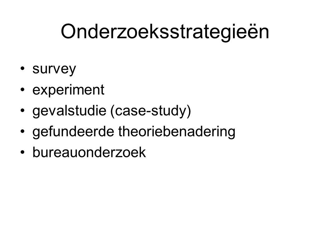Onderzoeksstrategieën survey experiment gevalstudie (case-study) gefundeerde theoriebenadering bureauonderzoek