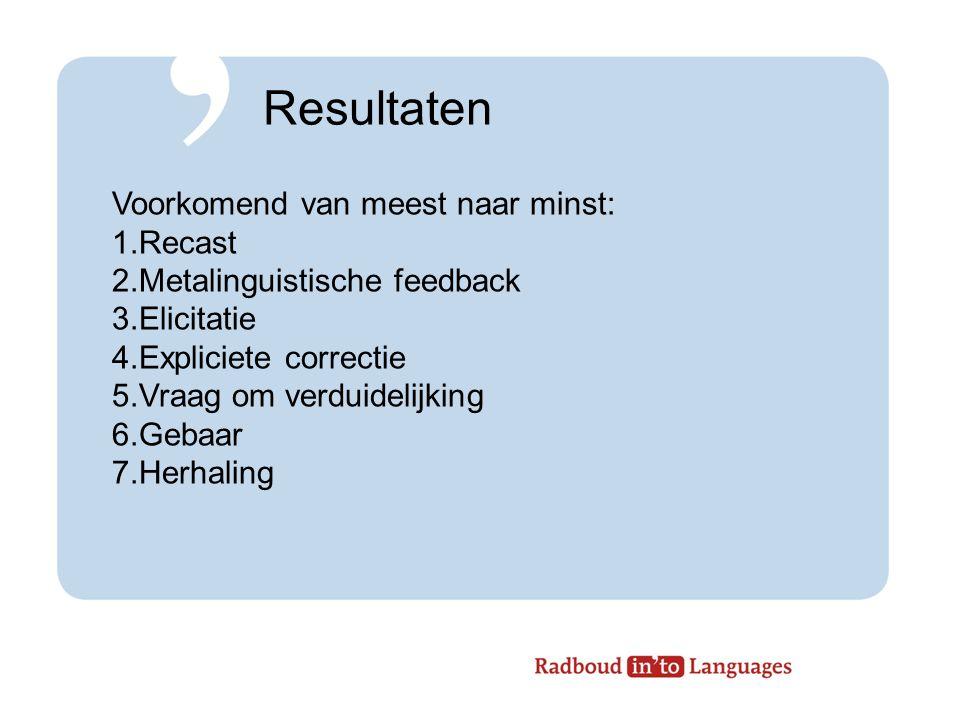 Resultaten Voorkomend van meest naar minst: 1.Recast 2.Metalinguistische feedback 3.Elicitatie 4.Expliciete correctie 5.Vraag om verduidelijking 6.Gebaar 7.Herhaling