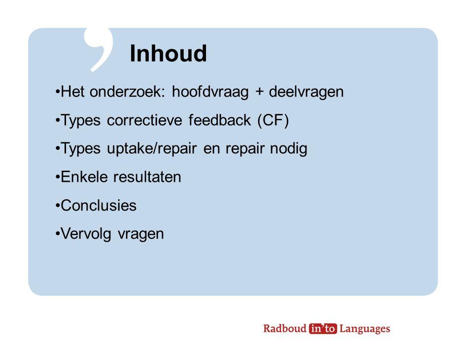 Inhoud Het onderzoek: hoofdvraag + deelvragen Types correctieve feedback (CF) Types uptake/repair en repair nodig Enkele resultaten Conclusies Vervolg vragen