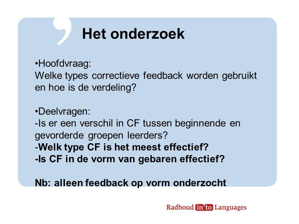 Correctieve feedback (CF) Expliciete correctie Metalinguistische feedback Elicitatie Herhaling Verzoek om verduidelijking Recast