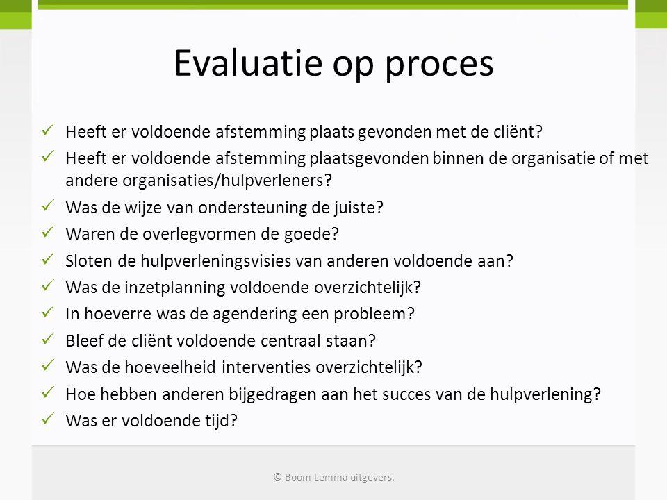 Evaluatie op proces Heeft er voldoende afstemming plaats gevonden met de cliënt? Heeft er voldoende afstemming plaatsgevonden binnen de organisatie of