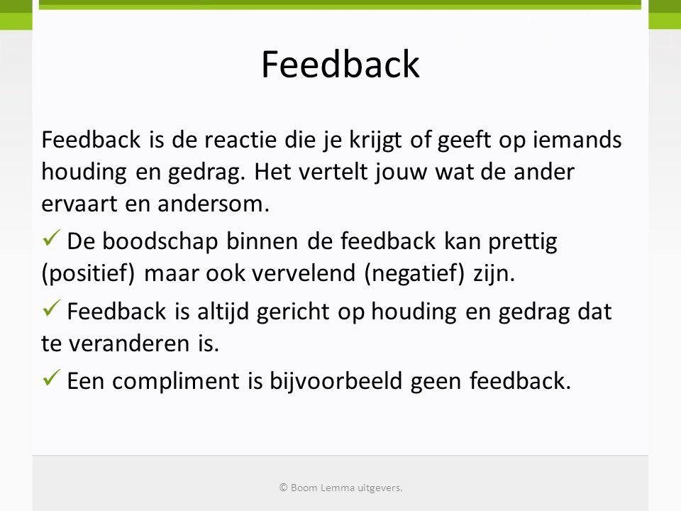 Feedback Feedback is de reactie die je krijgt of geeft op iemands houding en gedrag. Het vertelt jouw wat de ander ervaart en andersom. De boodschap b