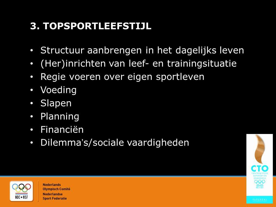 3. TOPSPORTLEEFSTIJL Structuur aanbrengen in het dagelijks leven (Her)inrichten van leef- en trainingsituatie Regie voeren over eigen sportleven Voedi