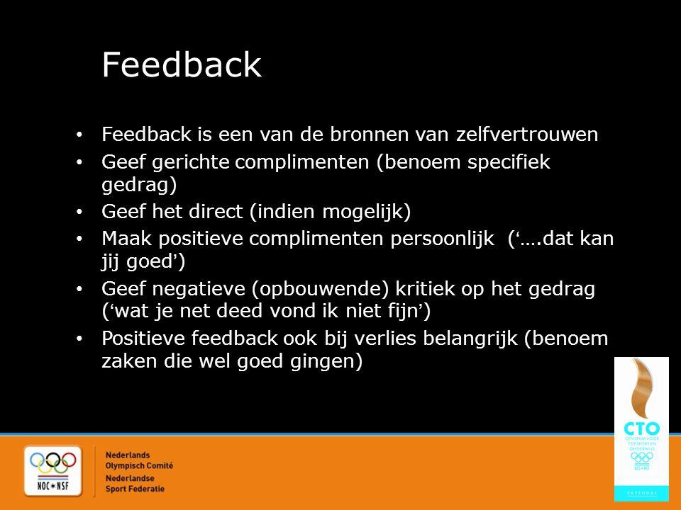 Feedback Feedback is een van de bronnen van zelfvertrouwen Geef gerichte complimenten (benoem specifiek gedrag) Geef het direct (indien mogelijk) Maak