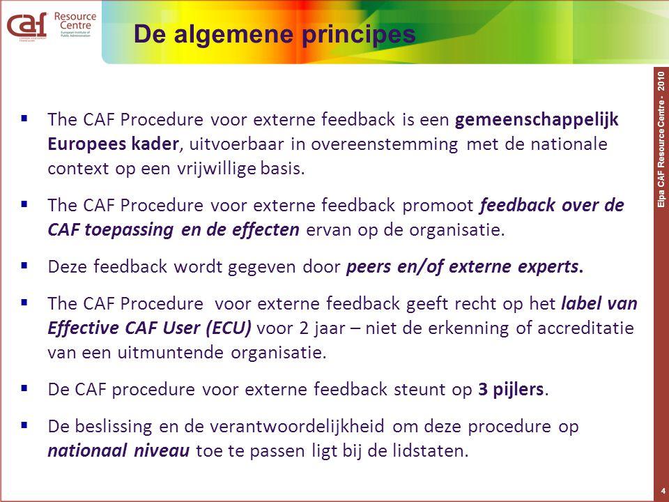 Eipa CAF Resource Centre - 2010 4 De algemene principes  The CAF Procedure voor externe feedback is een gemeenschappelijk Europees kader, uitvoerbaar in overeenstemming met de nationale context op een vrijwillige basis.