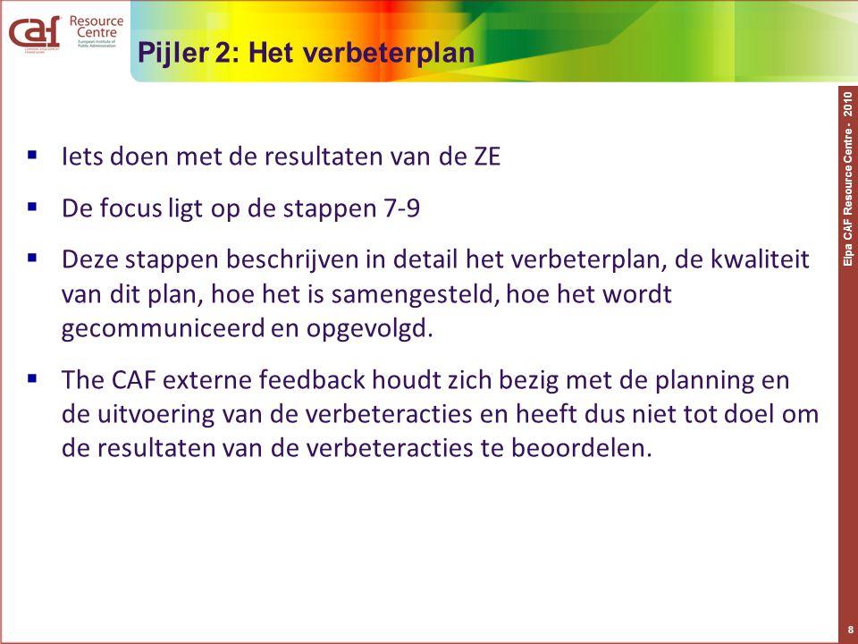 Eipa CAF Resource Centre - 2010 8 Pijler 2: Het verbeterplan  Iets doen met de resultaten van de ZE  De focus ligt op de stappen 7-9  Deze stappen beschrijven in detail het verbeterplan, de kwaliteit van dit plan, hoe het is samengesteld, hoe het wordt gecommuniceerd en opgevolgd.
